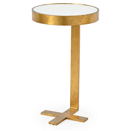 Arthur Round Mirrored Side Table, Gold