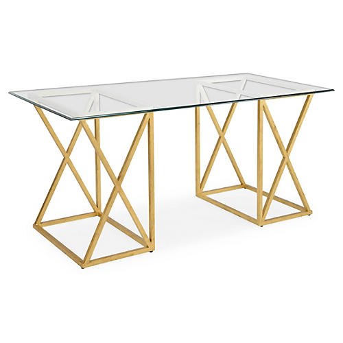 "Agnes 65"" Gilt Desk, Gold Leaf"
