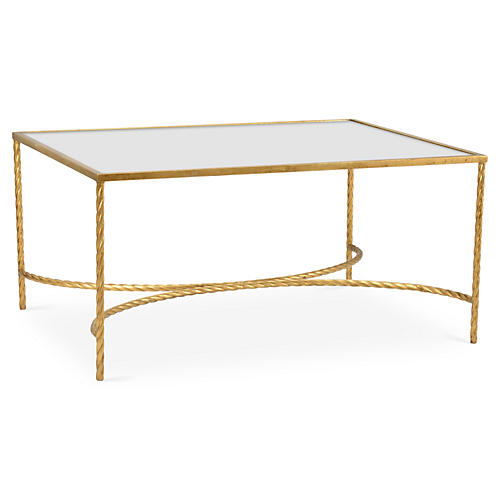 Flora Rope Coffee Table, Gold Leaf
