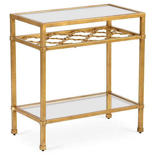 Quatrefoil Side Table, Antiqued Gold
