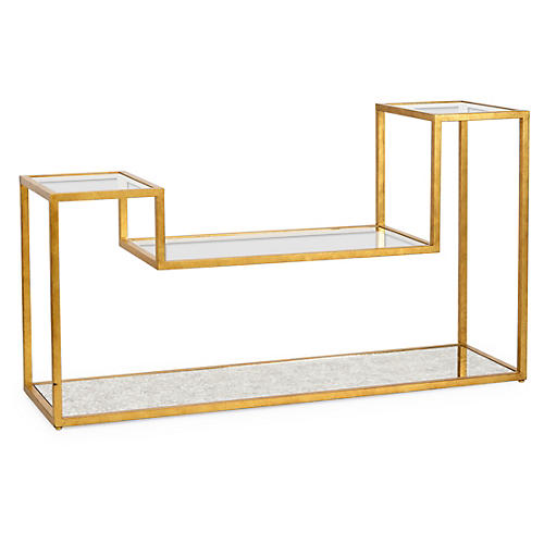 "Julius 64"" Tri-Level Console, Gold"
