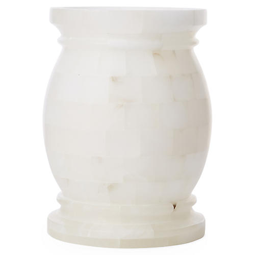 Otis Round Alabaster Side Table, Ivory