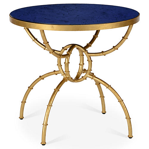 Irving Round Bamboo Side Table, Blue