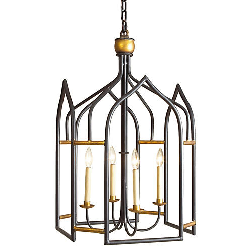 Seville 4-Light Lantern, Black/Gilt