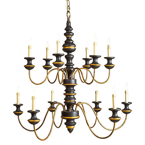 Stockholm 12-Light Chandelier, Black
