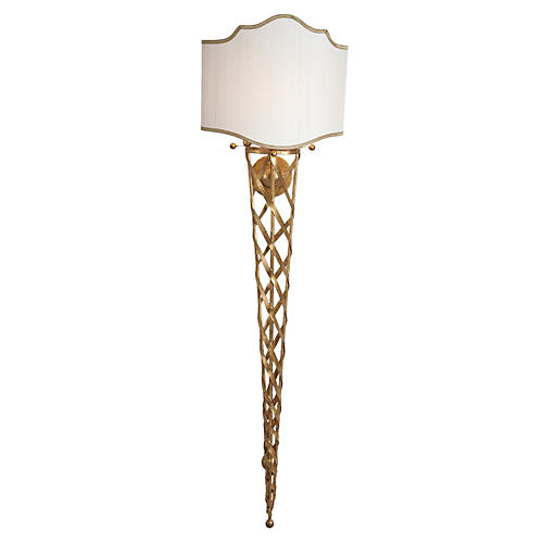 San Piero Tall Sconce, Antiqued Gold