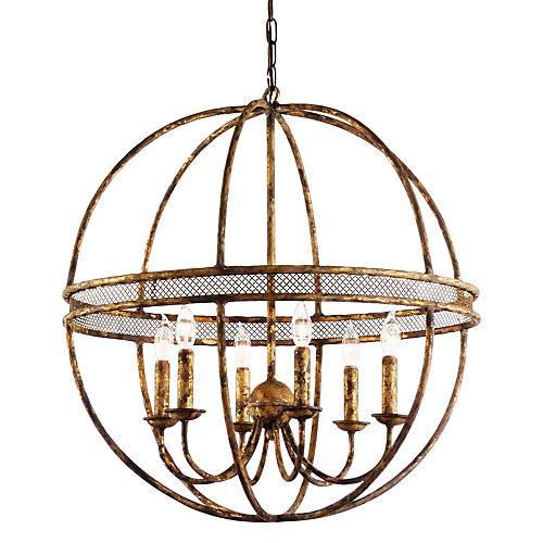 Tuscan 6-Light Chandelier, Old Gold
