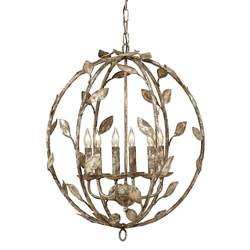 Botanical Leaf Chandelier, Silver