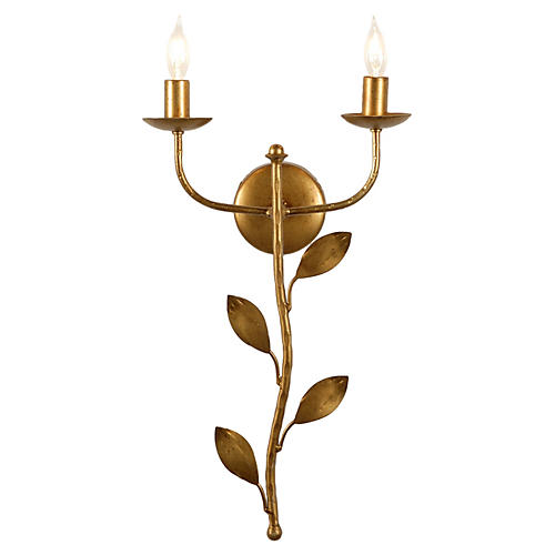 Botanical Leaf Sconce, Antiqued Gold