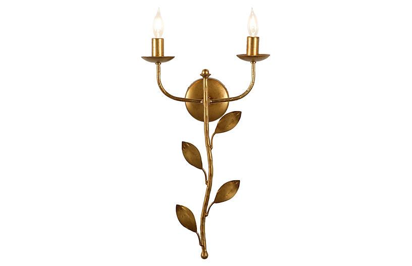 Botanical Leaf Sconce, Antiqued Gold
