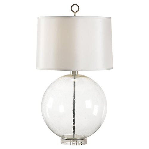 Bubble-Glass Sphere Lamp, Clear/Nickel