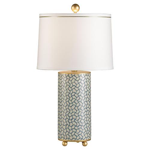 Porcelain Wavy Lines Lamp, Blue/Gold