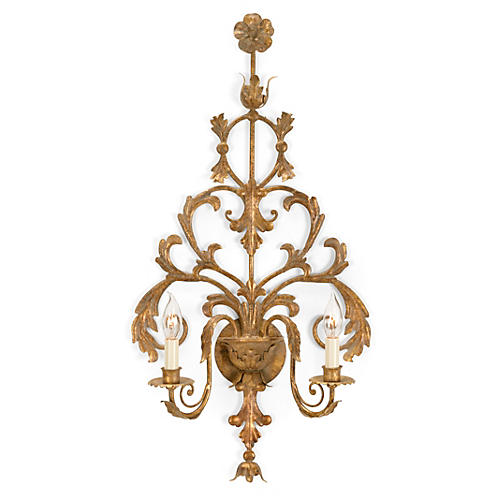 Tuscany Brass Sconce, Antiqued Brass