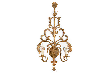 Tuscany Brass Sconce, Antiqued Brass