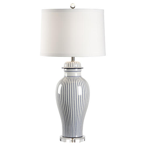 Urn Porcelain Lamp, Blue/White Stripe