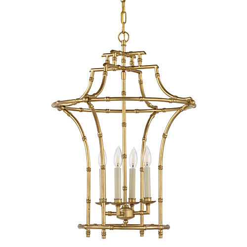 Bamboo 4-Light Chandelier, Antiqued Gold