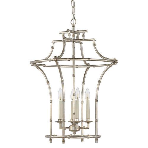 Bamboo 4-Light Chandelier, Silver