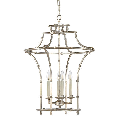 Bamboo 4-Light Chandelier, Silver