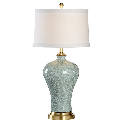 Viceroy Porcelain Crackle Lamp, Blue