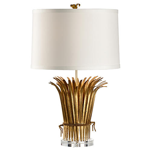 Leaf Table Lamp, Antiqued Gold Leaf
