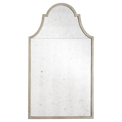 "Architectural 28""x50"" Arch Wall Mirror, Silver"