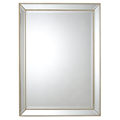 "36""x48"" Beaded Frame Mirror, Gold"