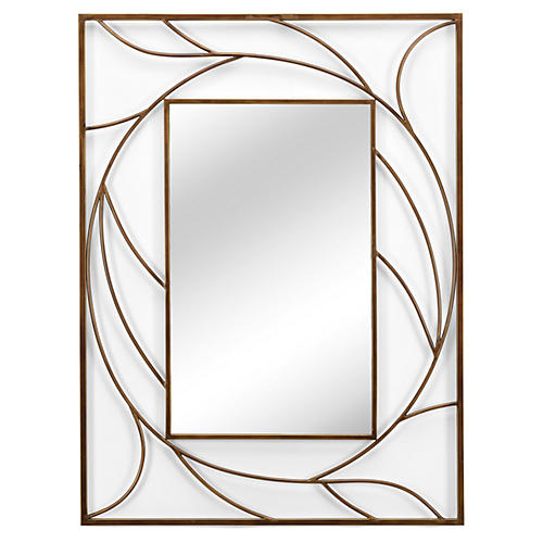 """Willow 36""""x48"""" Wall Mirror, Gold"""