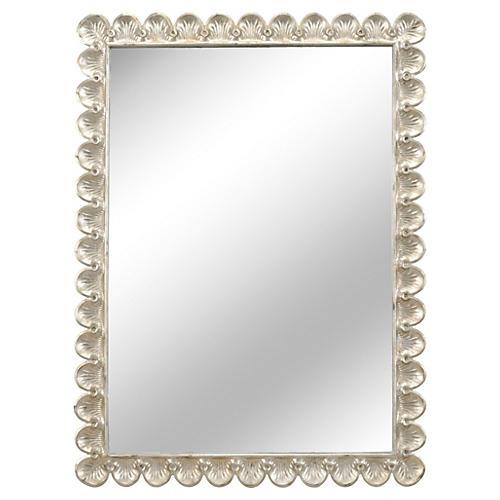 """35""""x46"""" Scallop Mirror, Silver"""