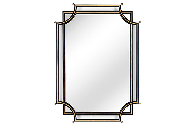 London Churchill Mirror, Black/Gold