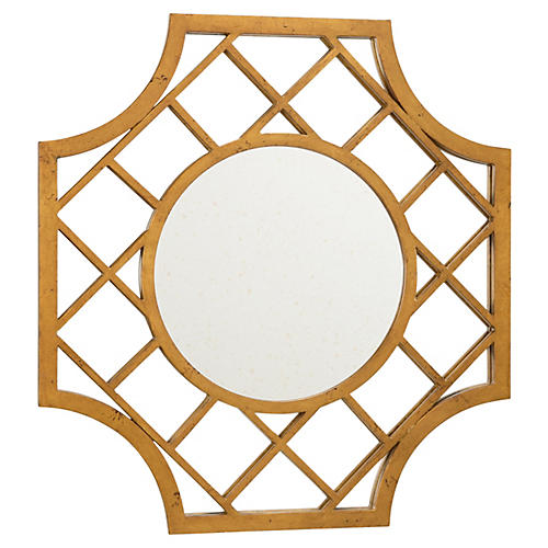 "Lattice 30""x32"" Wall Mirror, Antiqued Gold"