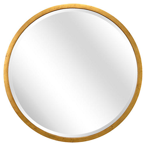 "44"" Round Wall Mirror, Gold"