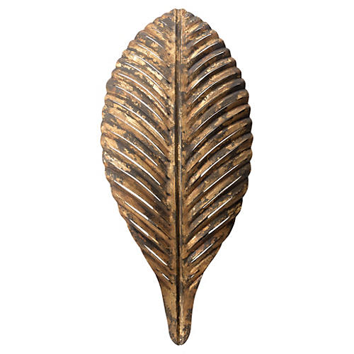Palm Leaf Sconce, Distressed Gold