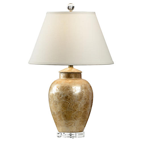 Columia Oyster Shell Table Lamp, Gold