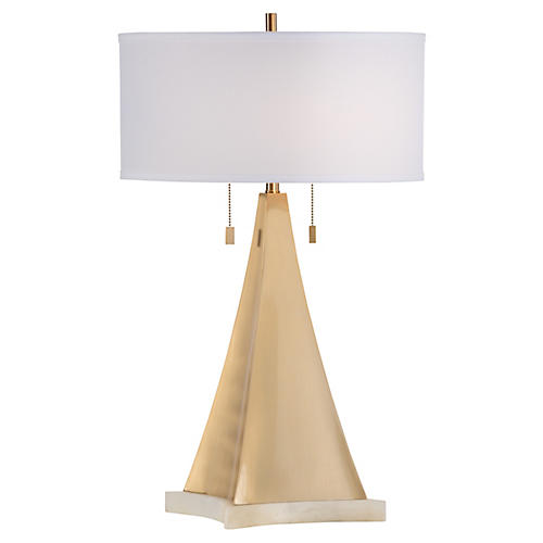 Pyramid 2-Light Table Lamp, Brass