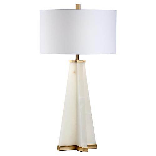 Pyramid Alabaster Table Lamp, Cream