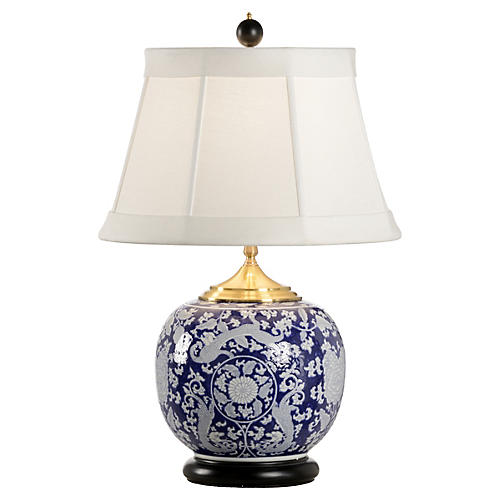 Scrimshaw Lamp Table Lamp, Blue