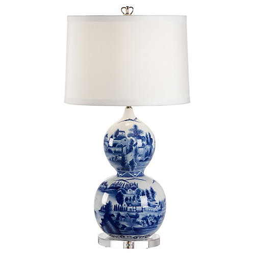 Hand-Painted Porcelain Table Lamp, Blue