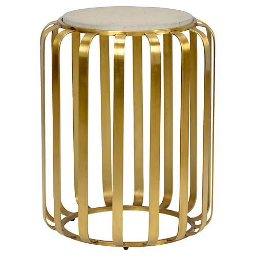 Rogers Side Table, Antiqued Brass