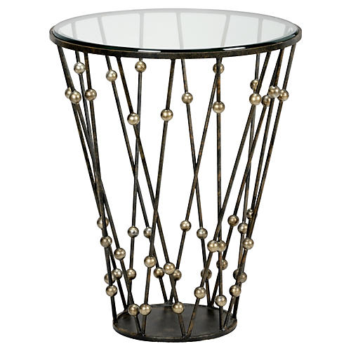 Wire & Ball Side Table, Antiqued Black