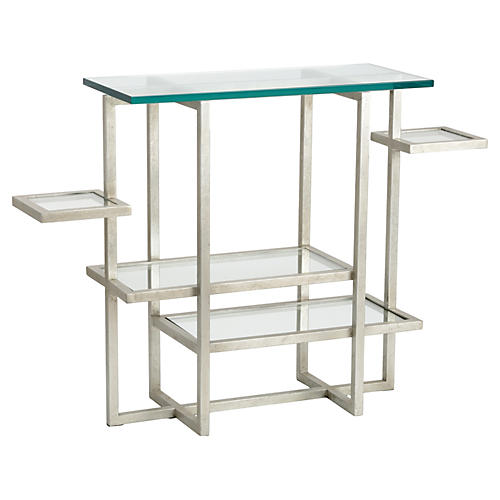 """Tiered 48"""" Console, Silver Leaf"""