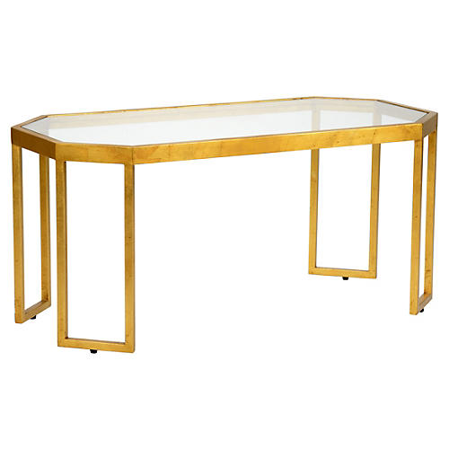 Louisville Coffee Table, Gold Leaf