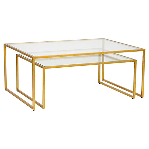 S/2 Iron Nesting Tables, Gold leaf