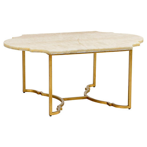 Rabern Coffee Table, Gold Leaf