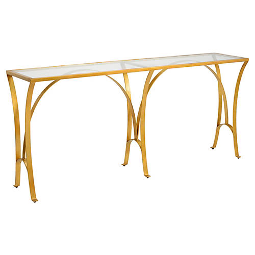 "Louisville City 81"" Console, Gold Leaf"