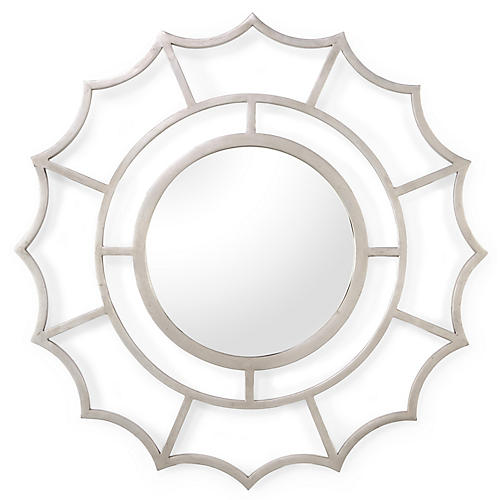 "Devonshire 40"" Wall Mirror, Silver Leaf"