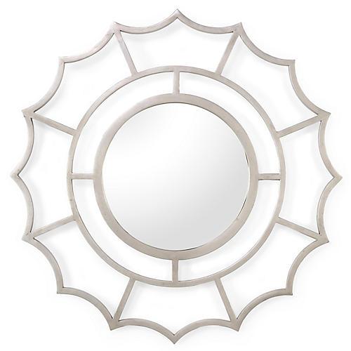 """Devonshire 40"""" Wall Mirror, Silver Leaf"""