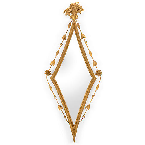 "Diamond 15""x38"" Wall Mirror, Gold"