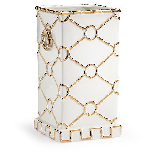 "15"" Square Ring Vase, Gold"