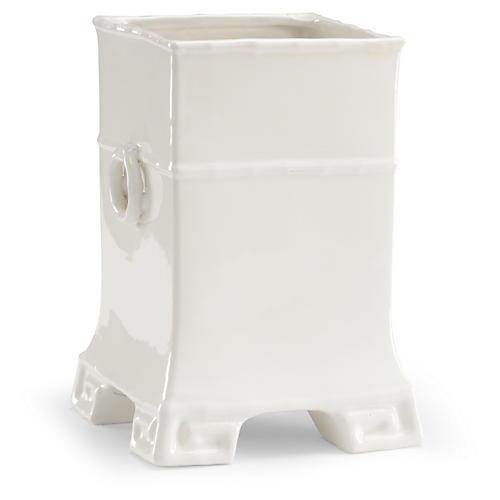 """13"""" Greek Key Vase, White"""