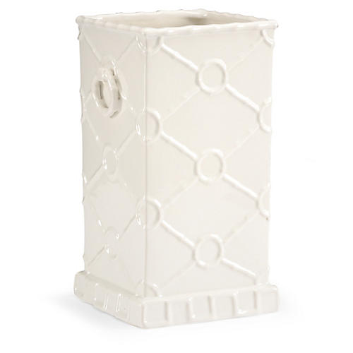 "15"" Square Ring Vase, White"